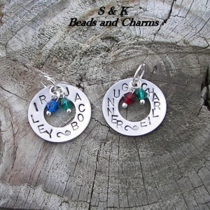 Mothers washer charms personalized custom hand stamps, bithday, cancer awarness and more