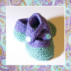 PAISLEY PIGGIES - Hand Knitted Booties in Turquoise and Lilac