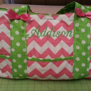 Custom Diaper bag-Chevron fabric-****6 pocket bag*** with name embroidered-washable