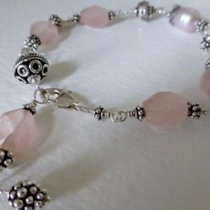 Pink rose quartz, pearl & bali sterling silver bracelet,rose quartz bracelet,balinese silver,beach jewelry,gemstone jewelry,pink bracelet