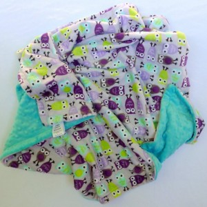 Baby Blanket, Minky Baby Blanket, Owl Baby Blanket- Purple, Lavender, Aqua, Lime Green Baby Blanket for Your Baby