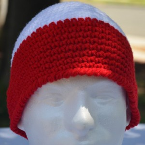 Handmade Crochet Patriotic Beanie Red White & Blue Beanie     b122