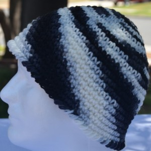 Handmade Black and White Swirl Crochet Beanie , Men / Women / Teens / Tweens Beanie , Black Beanie , White Beanie , Winter Wear   b115