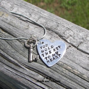 You stole the key to my heart hand stamped  necklace