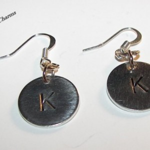 Personalized custom hand  stamped, earrings.