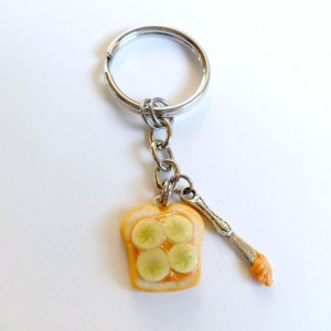 Peanut Butter and Bananas Keychain, With Knife, Cute :D FREE SHIP!