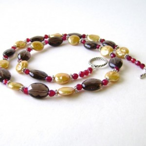 Smoky Quartz Necklace, Sterling Silver, Freshwater Pearl, Ruby Agate, Brown, Gold, Red, Fall, Autumn, 587