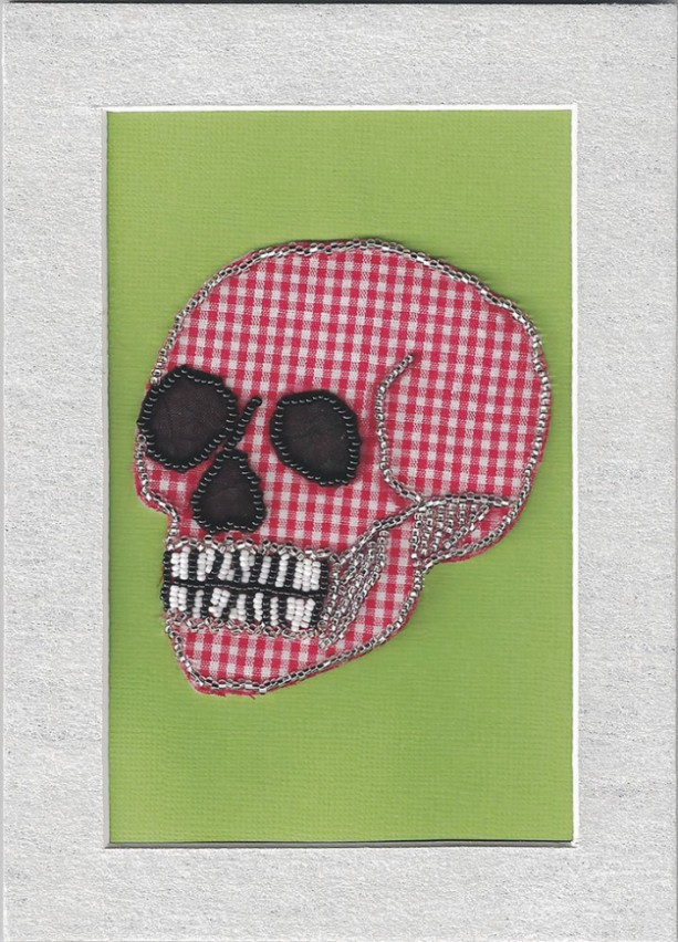 Beaded skull red gingham bead embroidery mixed