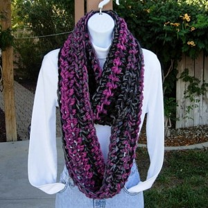 Women's Winter INFINITY SCARF Loop Cowl, Black, Gray Grey, & Raspberry Pink, Thick Soft Bulky Chunky Crochet Knit Circle Scarf, Ready to Ship in 3 Days