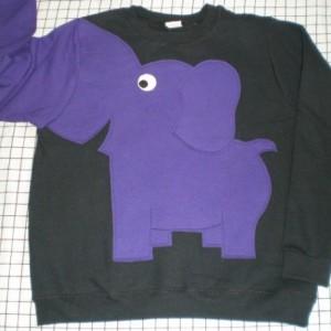 Elephant shirt with a trunk sleeve, black with purple elephant, your choice of size. Adult size elephant sweatshirt. elephant jumper.