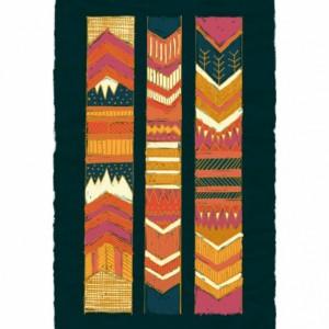 Tribal Chevron Giclee Print, Geometric, Chevron, Southwest, Navy Blue, Rust, Orange, Coral, Cream - Original Illustration by Kimberly Kling