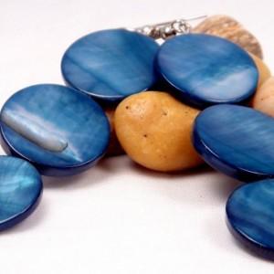 Navy Disc Earrings, Navy Shell Dangles, Retro Navy Earrings, Blue Disc Earrings