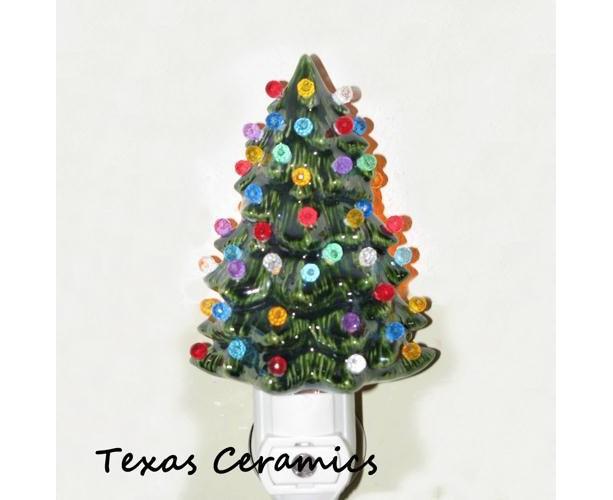 Little Green Ceramic Christmas Tree Night Light with ...