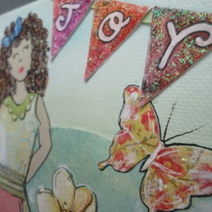 Mixed Media Collage with Decorative Scrapbook Papers, Glitter, Paint, Doodling. Hand Drawn. Perfect for a Christmas or birthday present!