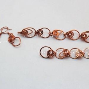 Handmade Tendrils of the Vine Link Bracelet and Earring Set- Tendrils of the Vine Collection
