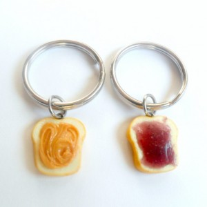 Peanut Butter and Jelly Keychain Keyring Set, Best Friend's Keychains, Cute :D