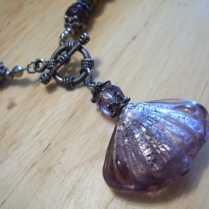 Pink Lavender Rose Glass Front Toggle Necklace