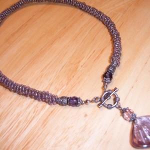 Pink Lavender Rose Glass Front Toggle Necklace