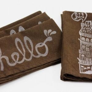 Hello Napkins, Cotton Brown Napkin Set, Hostess Gift, House Block Print, Illustrated Napkins, Kitchen Decor, Original Design - Set of 4
