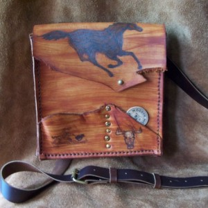 Rustic Western Brown Leather mini Messenger Bag  Mustang handmade year of the horse