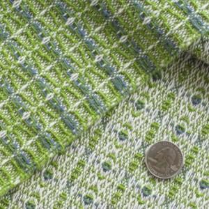 Woven Table Runner - Spring green, Cornflower blue / Handwoven / Cotton & linen