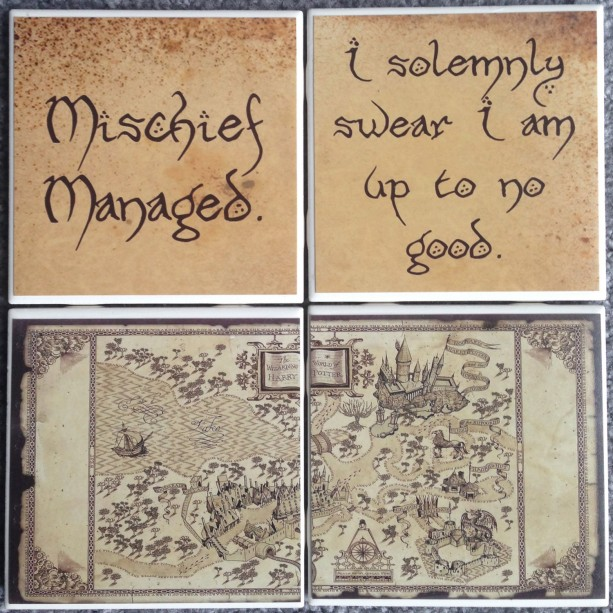 Harry Potter Coasters Set Of 4 Marauders Map Quotes Hogwarts M