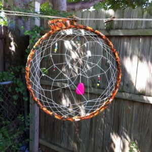 Large Beaded Dream Catcher Handmade, Handwoven 15 inch Orange Southwestern Wall Decor, Outside  or Inside Home