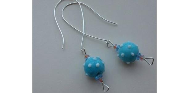 Summer Retro modern pale blue lampworked glass bead earrings on custom sterling silver ear wires, gift for artist or teacher, polka dots