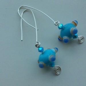 Summer style blue Geometric earrings, space earrings on handmade sterling silver ear wires, retro, polka dots, modern blue jewellery