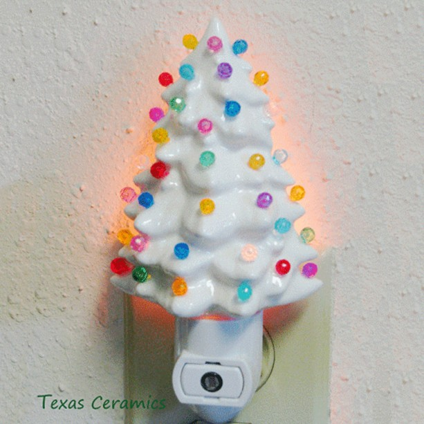 little white ceramic christmas tree night light automatic switch color light globes - Christmas Tree Night Light