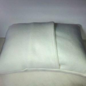 Crochet applique pillow, applique pillow fleece pillow with crochet circles, soft fleece pillow, nursery pillow, white and red pillow
