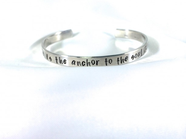 Hope is the Anchor to the Soul Hand Stamped Cuff Bracelet