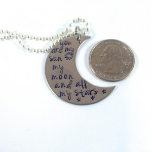 Sun, Moon, and Stars Hand Stamped Moon
