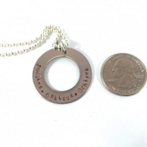 Imagine, Believe, Achieve Hand Stamped Washer Necklace