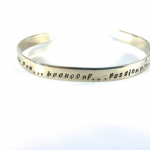 Je t'aime Hand Stamped Nickel Cuff Bracelet