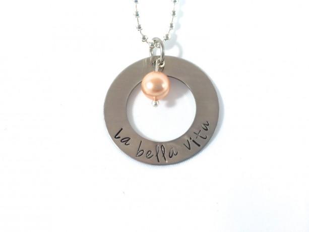 La Bella Vita Hand Stamped Washer Necklace