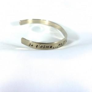 Je t'aime Hand Stamped Nickel Cuff Bracelet