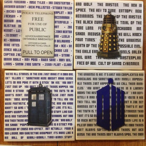 DOCTOR WHO (Set of 4) Coasters Quotes, Characters, Stories, Dalek