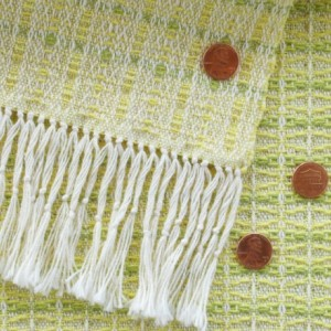 Dining Table Runner - Sunny yellow, Spring green / Handwoven / Cotton & linen