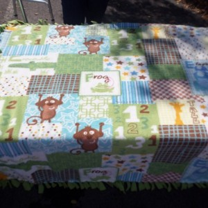 Baby animal themed  no sew double hand knotted fleece blanket with monkeys alligators and frogs