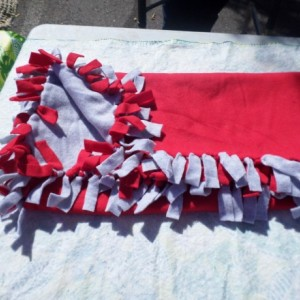 Ohio State Scarlet and Gray no sew double hand knotted fleece blanket FREE SHIPPING