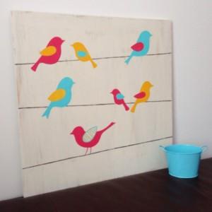 Birds on a Wire - Bird Nursery Art - Woodland Nursery - Wood Wall Art - Girl's Wall Art - Birds on Wood - Rustic Nursery Decor - Whimsical