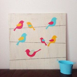 Birds on a Wire - Bird Nursery Art - Woodland Nursery - Wood Wall Art - Girl's Wall Art - Birds on Wood - Rustic Nursery Decor - Whimsical