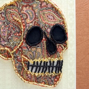 Bead Embroidered Skull // Brown // Paisley // Mixed Meadia Art
