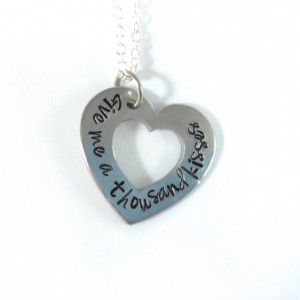 """Hand Stamped Heart Washer Necklace """"Give me a thousand kisses"""""""