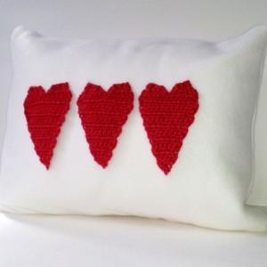 Fleece applique pillow with three red crochet hearts, applique pillow, soft blizzard fleece pillow, nursery pillow with hearts - love pillow