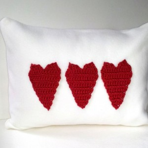 Fleece applique pillow with three red crochet hearts, applique pillow, soft blizzard fleece pillow, nursery pillow with hearts - love pillow