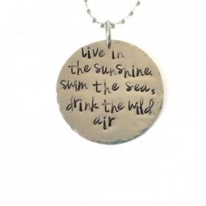 Live in the Sunshine Handstamped Necklace