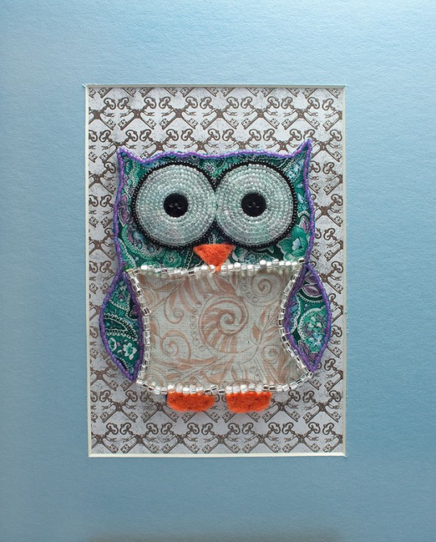 Bead embroidered owl green and pink paisley mixed
