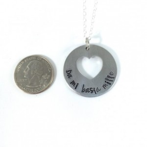 Da Mi Basia Mille Hand Stamped Round Heart Washer Necklace